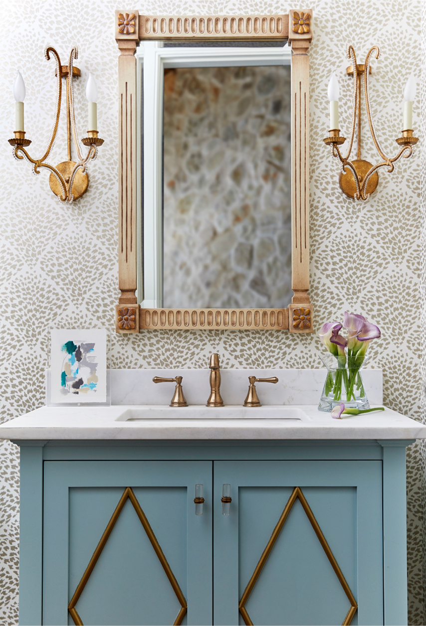 half bath with wallpaper