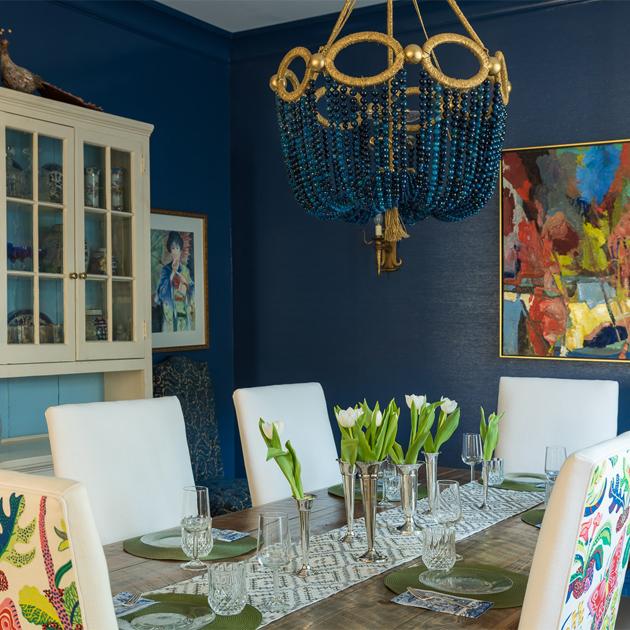 navy formal dining room