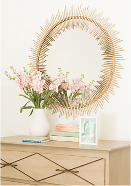 neutral mirror and flowers