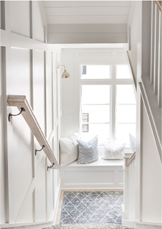 white stairwell design
