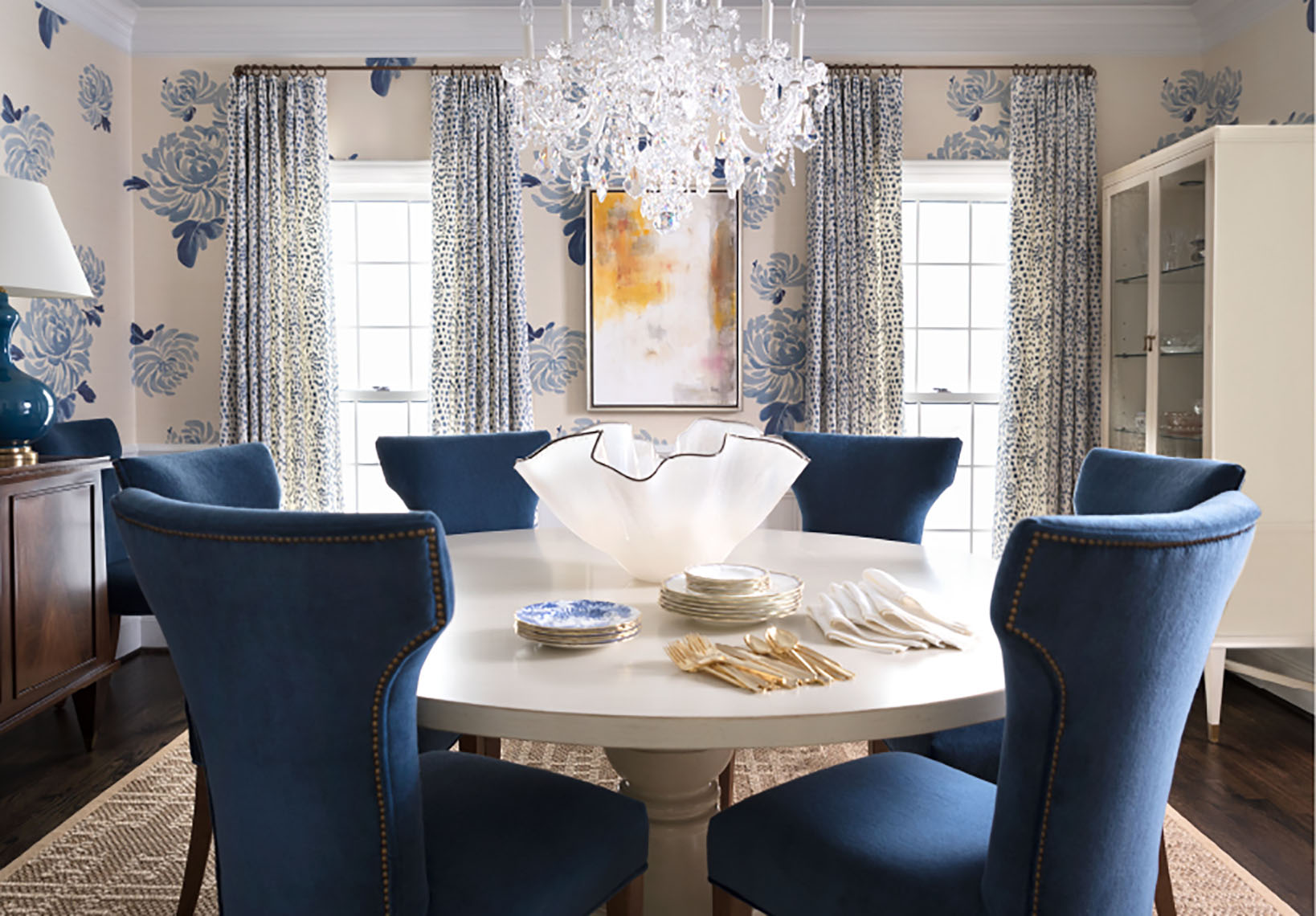 blue dining room table and chairs