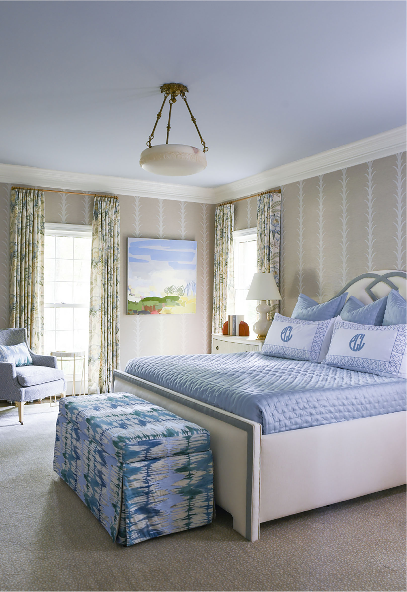 blue and neutral bedroom design