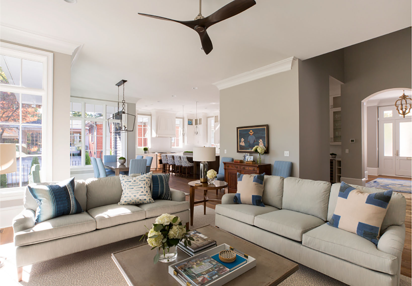 living room design in myers park